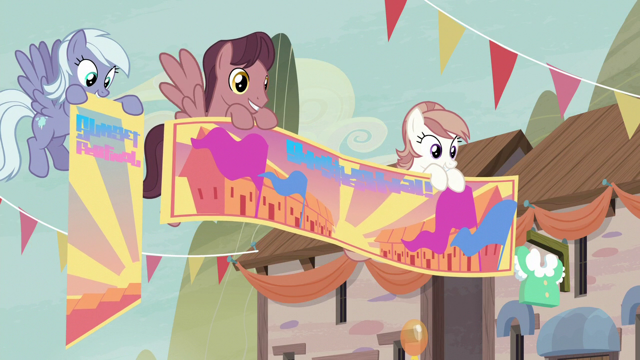 Our_Town_Pegasi_holding_festival_banners
