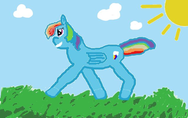 My second pony pic, The worst Rainbow Dash picture you'll ever see ...