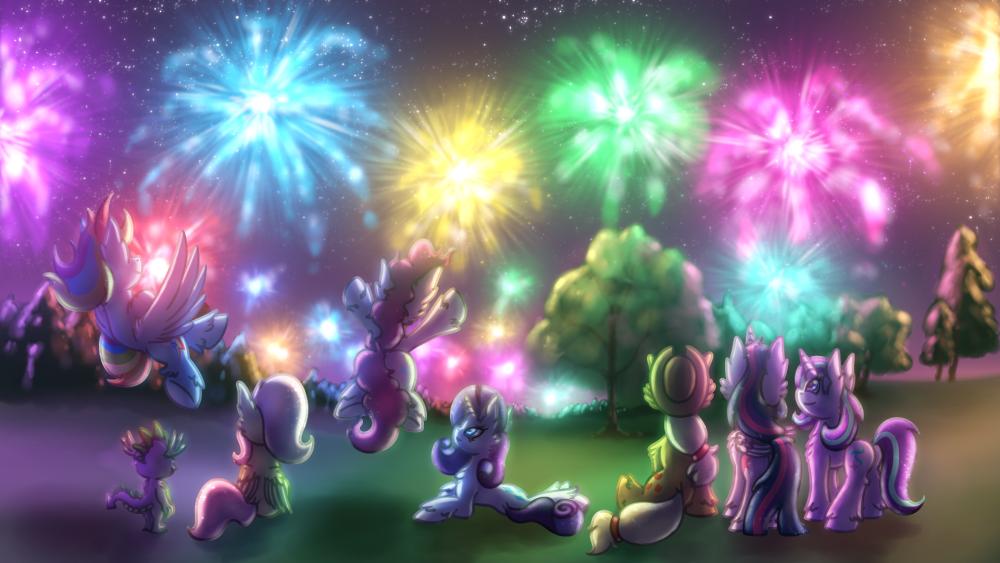 1621034__safe_artist-colon-shad0w-dash-galaxy_applejack_fluttershy_pinkie+pie_rainbow+dash_rarity_spike_starlight+glimmer_twilight+sparkle_fireworks_ha.png
