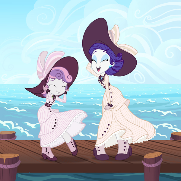 Rarity and Sweetie Belle Titanic Dresses final low-res.jpg